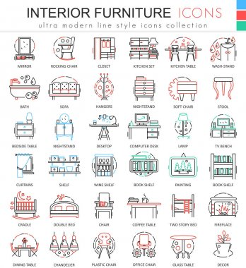 Vector interior Furniture color line outline icons for apps and web design. Interior Furniture icons.