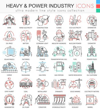 Vector Heavy and Power industry color line outline icons for apps and web design. Heavy Power industry icons.