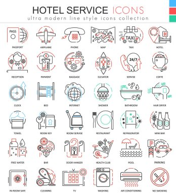 Vector Hotel service color line outline icons for apps and web design. Hotel service icons.