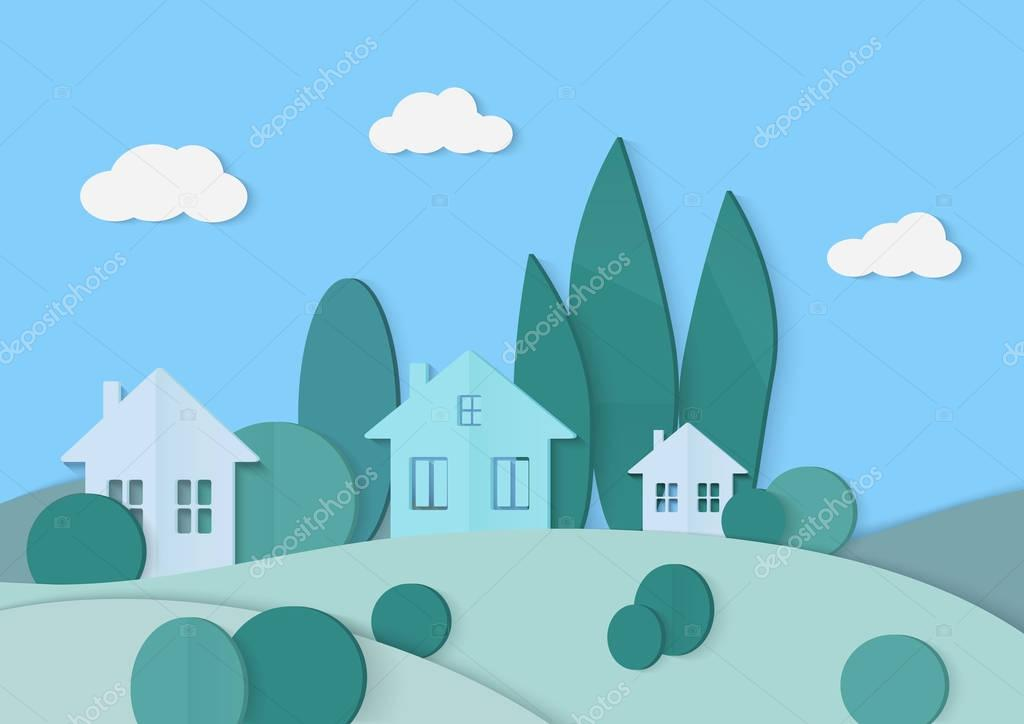Village cardboard paper landscape. House, mountains and forest.