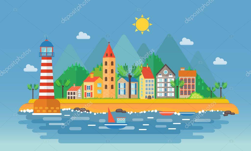 Small city urban landscape illustration. Cartoon cityscape on the mountains background near ocean sea beach. Harbor port village.