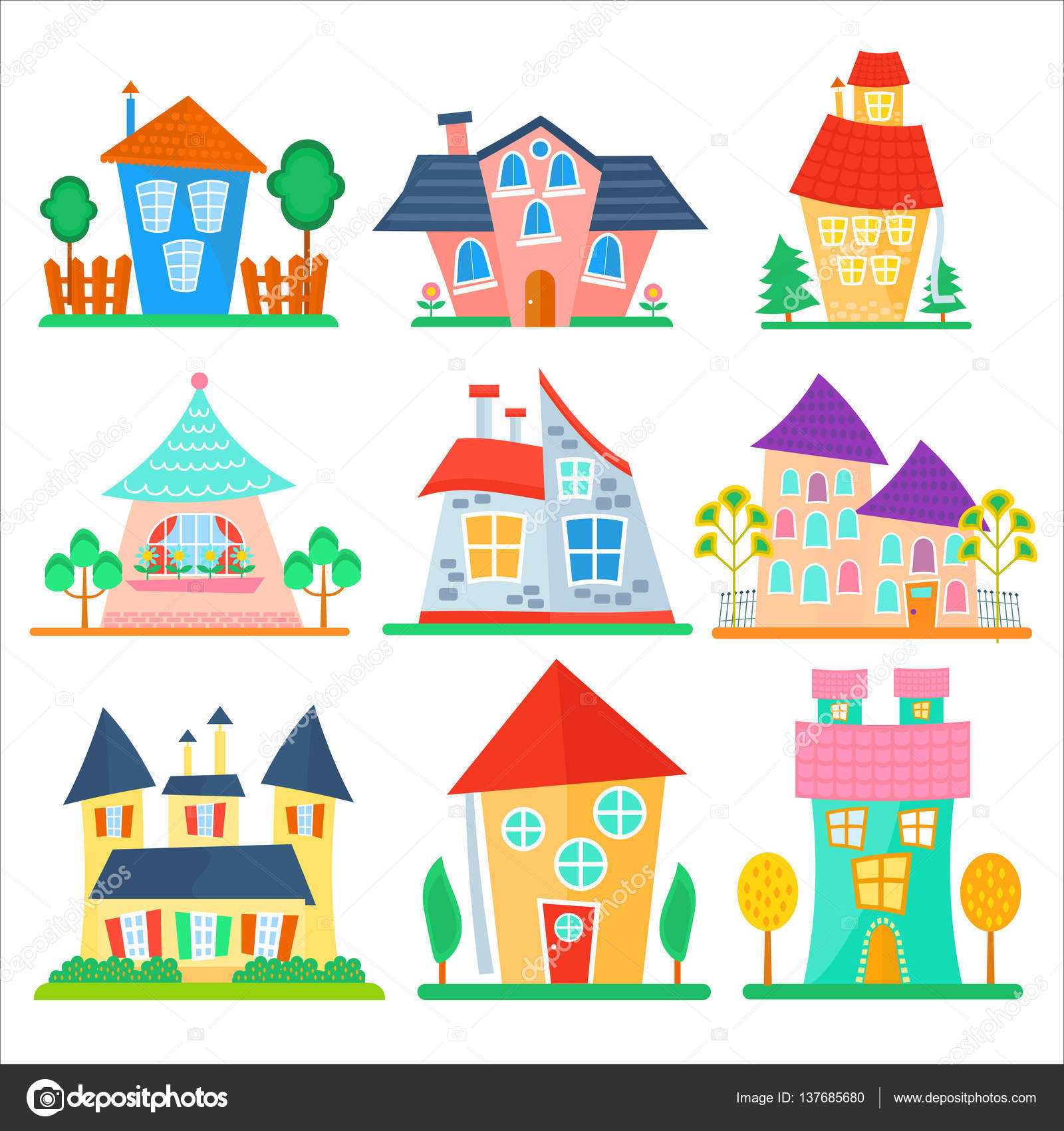 Cute cartoon houses collection funny colorful kid vector for Cute house images