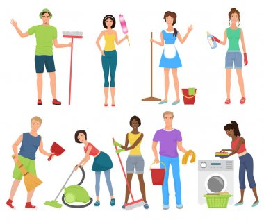 Man and woman janitors cleaners. Cleaning people working washing with cleaning equipmen set. Cleaning stuff service.