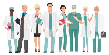 Hospital medical staff Team doctors together. Group of doctors and nurses people character set clip art vector