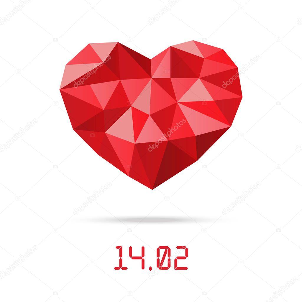 Happy Valentinstag-Design-Vorlage. Polygonale Low Herz mit ...