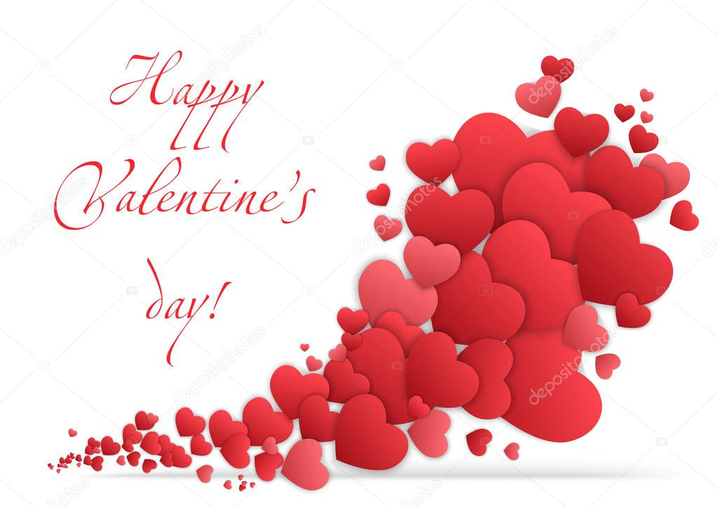 Happy valentines day card with hearts. Valentine Love vector.
