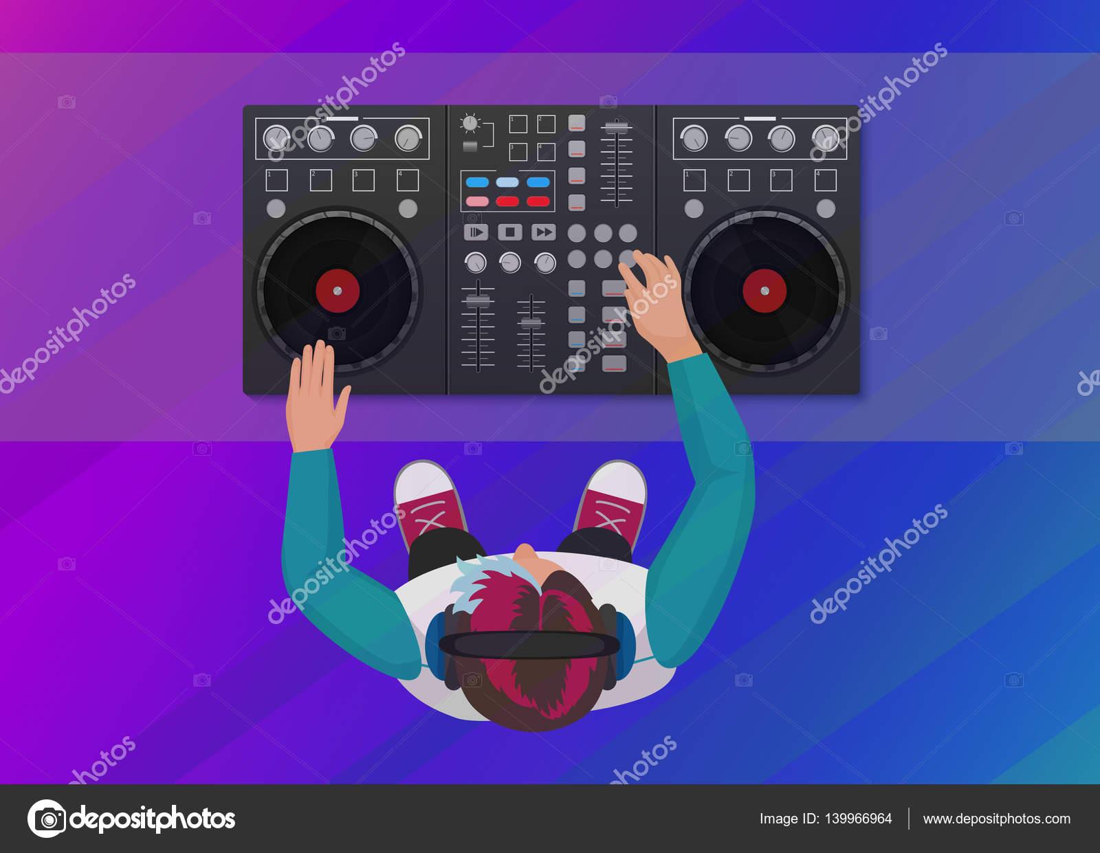 Dj vinyle en jouant sur le fond clair de couleur n on vue - Table de mixage vinyle ...