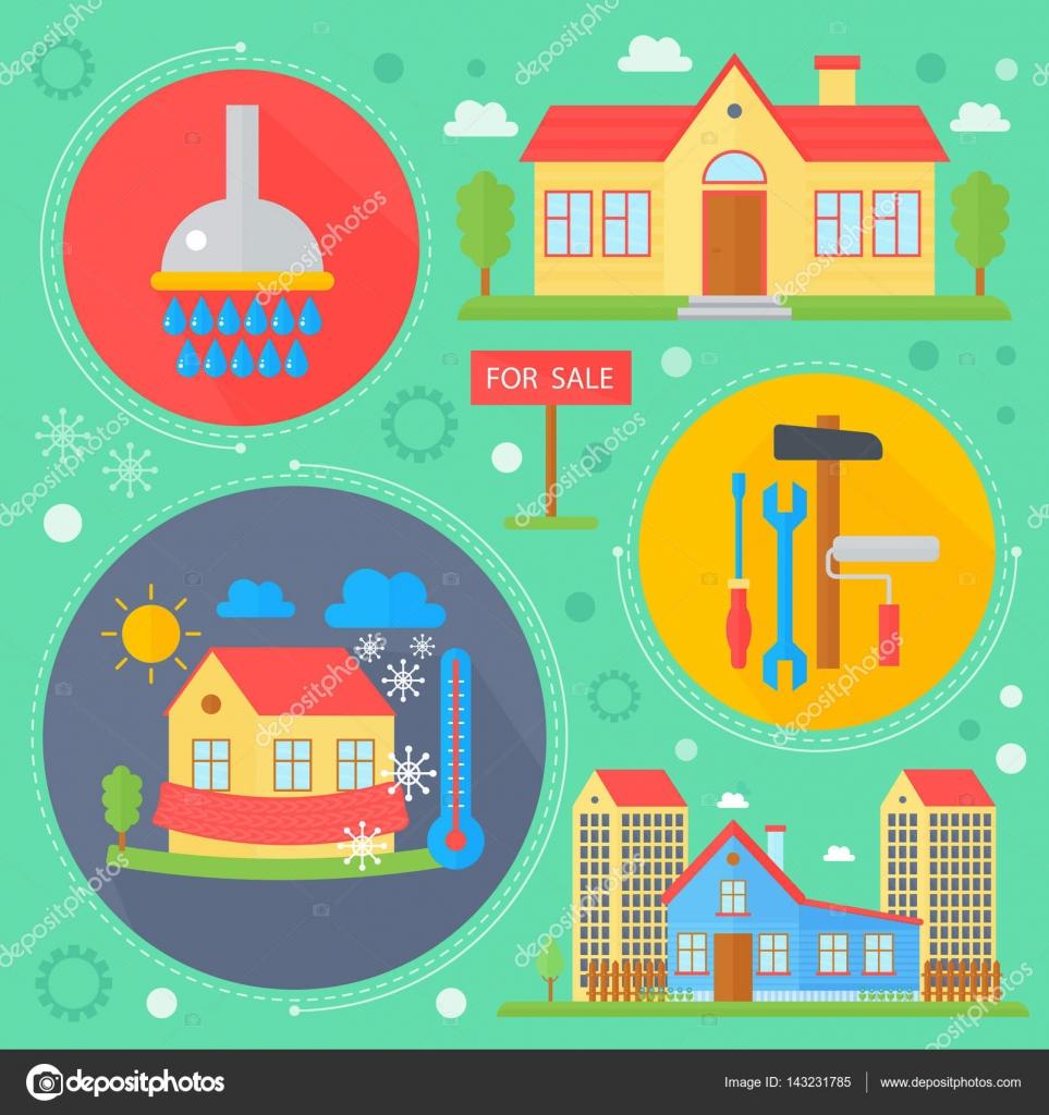 Concepto de diseño inmobiliario vector set con venta y alquiler ...