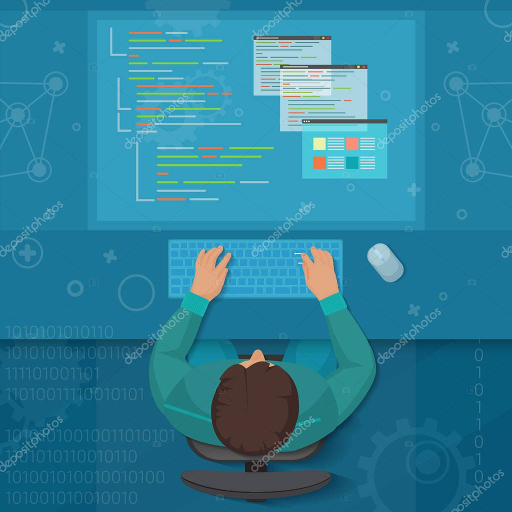 Man Software Engineer Concept With Design Optimization Responsive And Developer Solutions Coder Top View Virtual Workspace Premium Vector In Adobe Illustrator Ai Ai Format Encapsulated Postscript Eps Eps Format