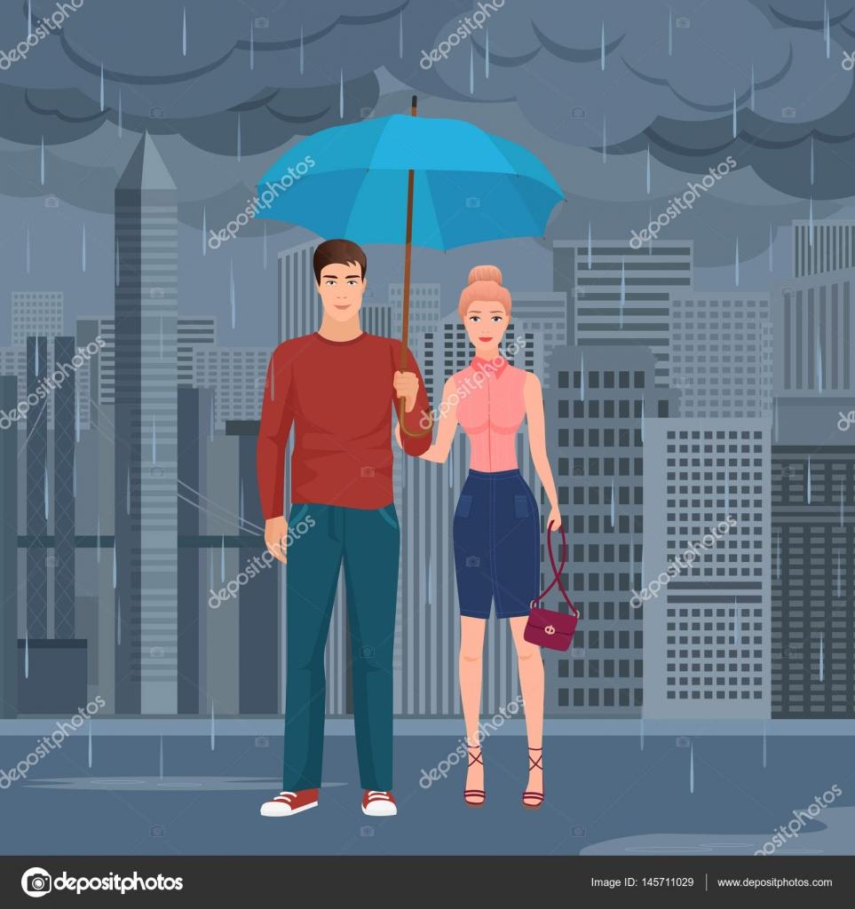暗い灰色の雨の日に通りの傘の下で立っている若い幸せカップル ペア