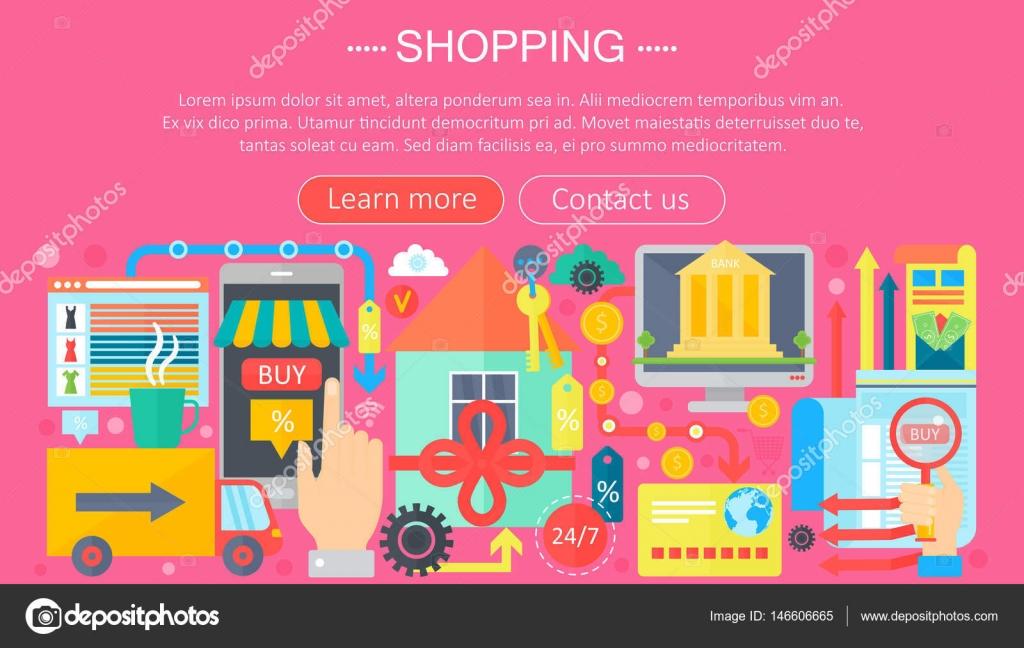 Concepto de compras Online y tiendas de comercio electrónico. Diseño ...