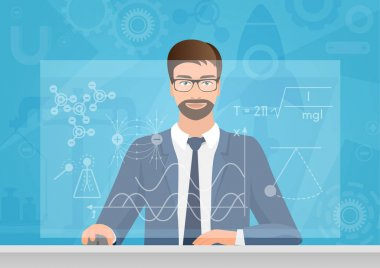 Bearded man Physicist making the graphs formula on the computer vector illustration. Physics technology.