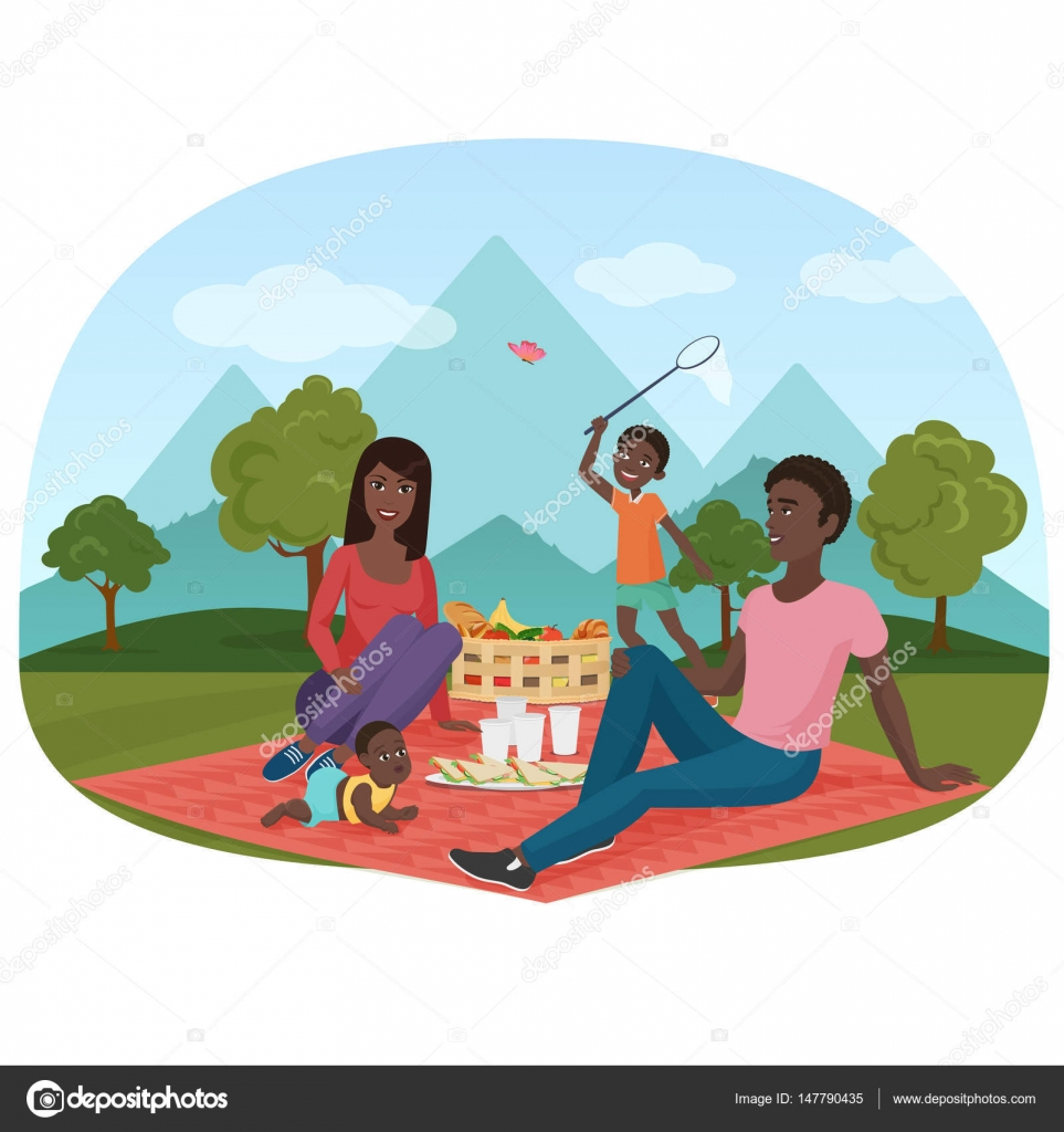 The Vector Illustration Of Cheerful African Family On A Picnic Outside Black People Camping