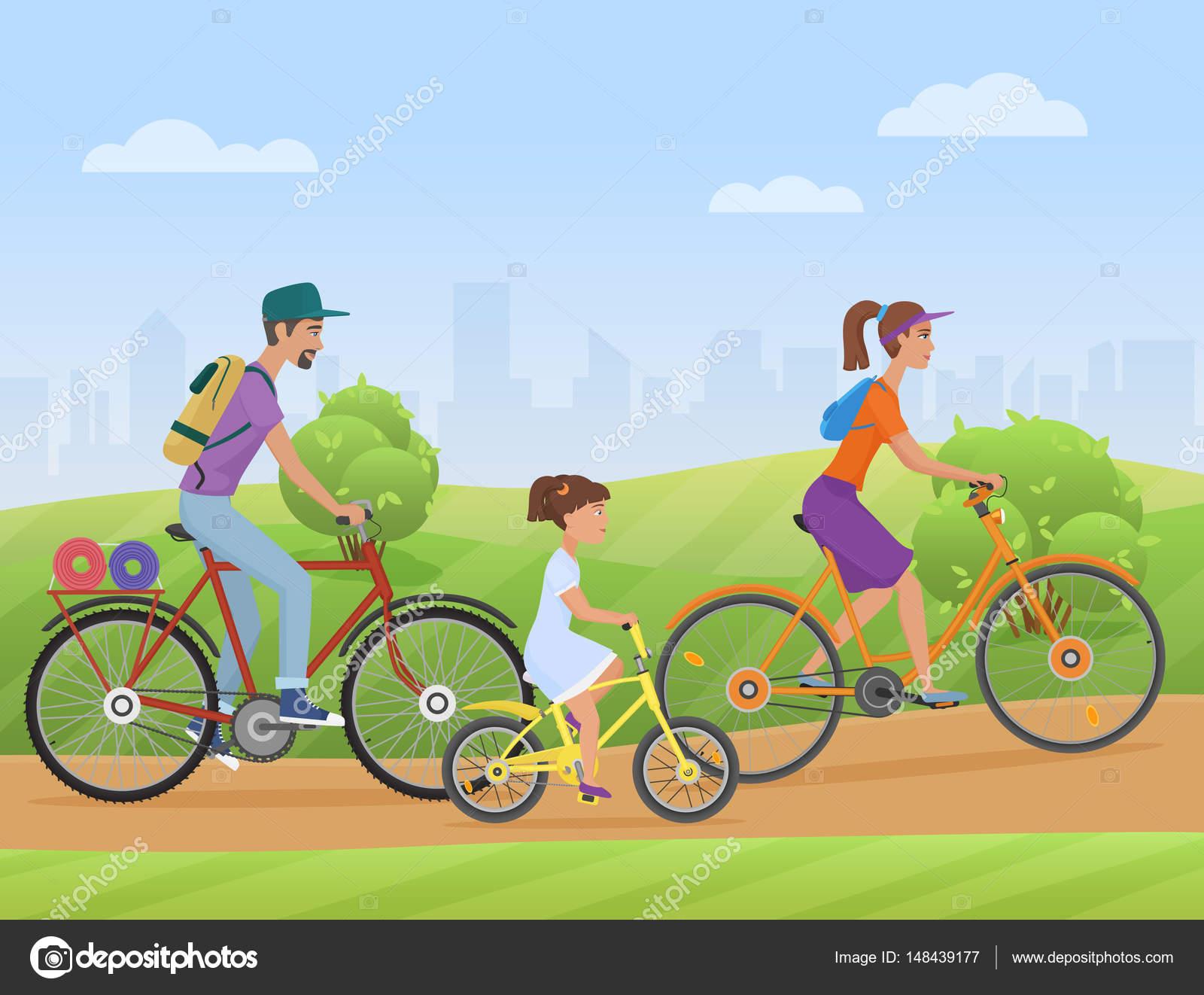 Niña Montando Su Bicicleta En Un Parque: Familia Con Niño Niña Montando Una Bicicleta En La