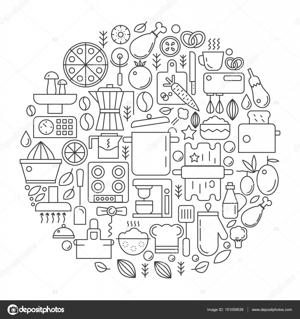 Kitchen Tools and Equipment in circle - concept line vector ...