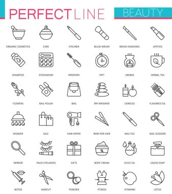 Spa Beauty and cosmetic thin line web icons set. Outline icon design clip art vector