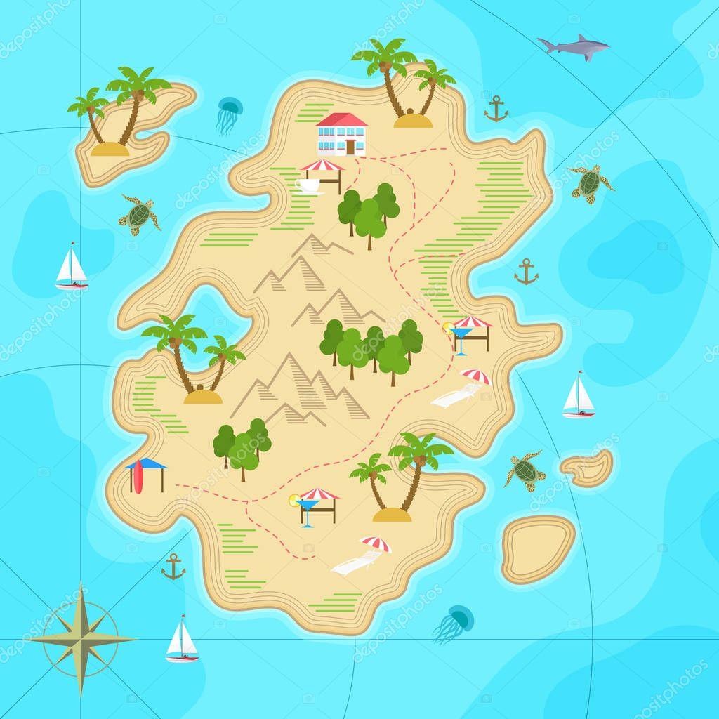 Cartoon Island Top View Cartoon Tropical Island In Ocean Top