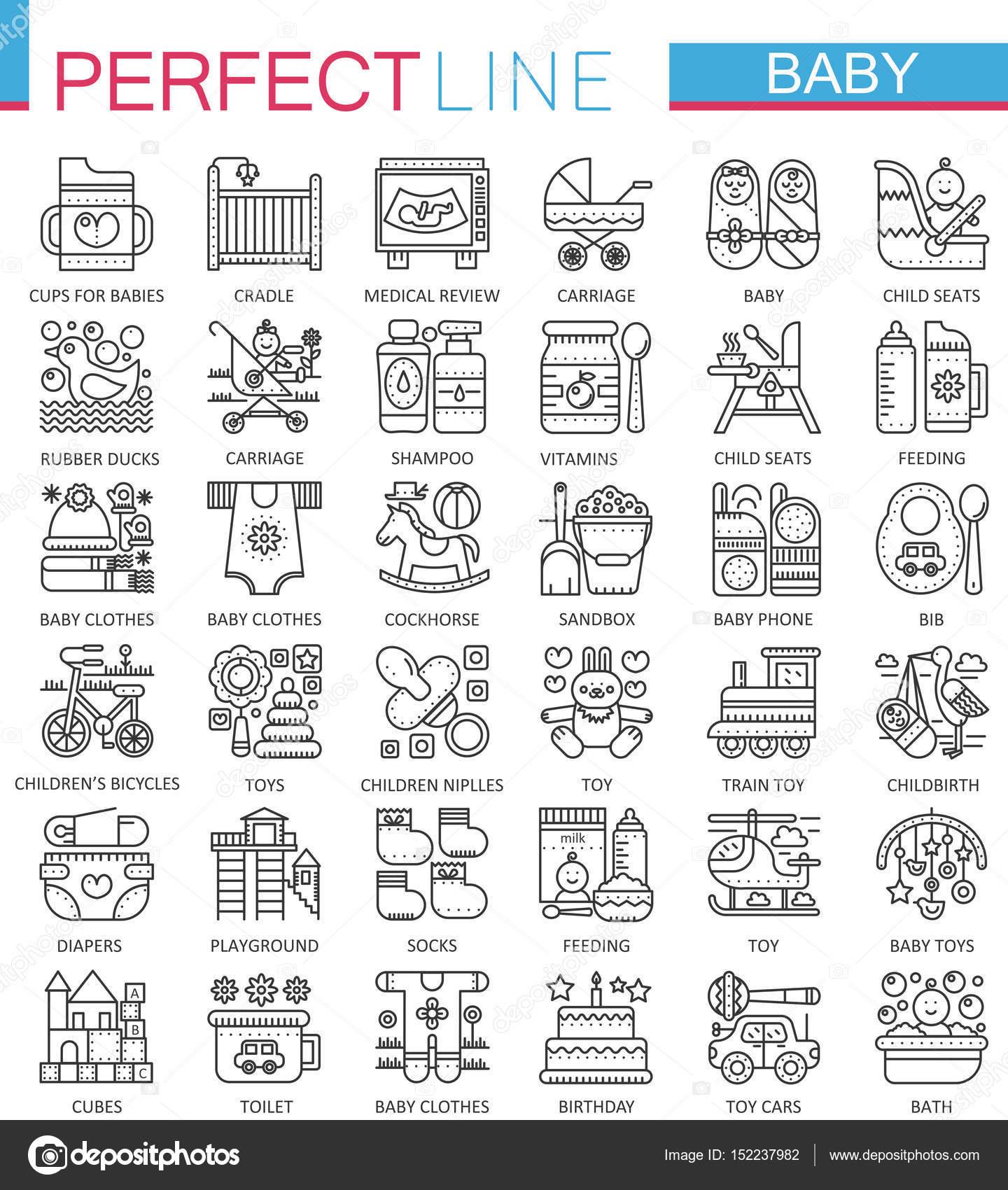 Juguetes para bebé cuidado, niños símbolos de concepto de ...