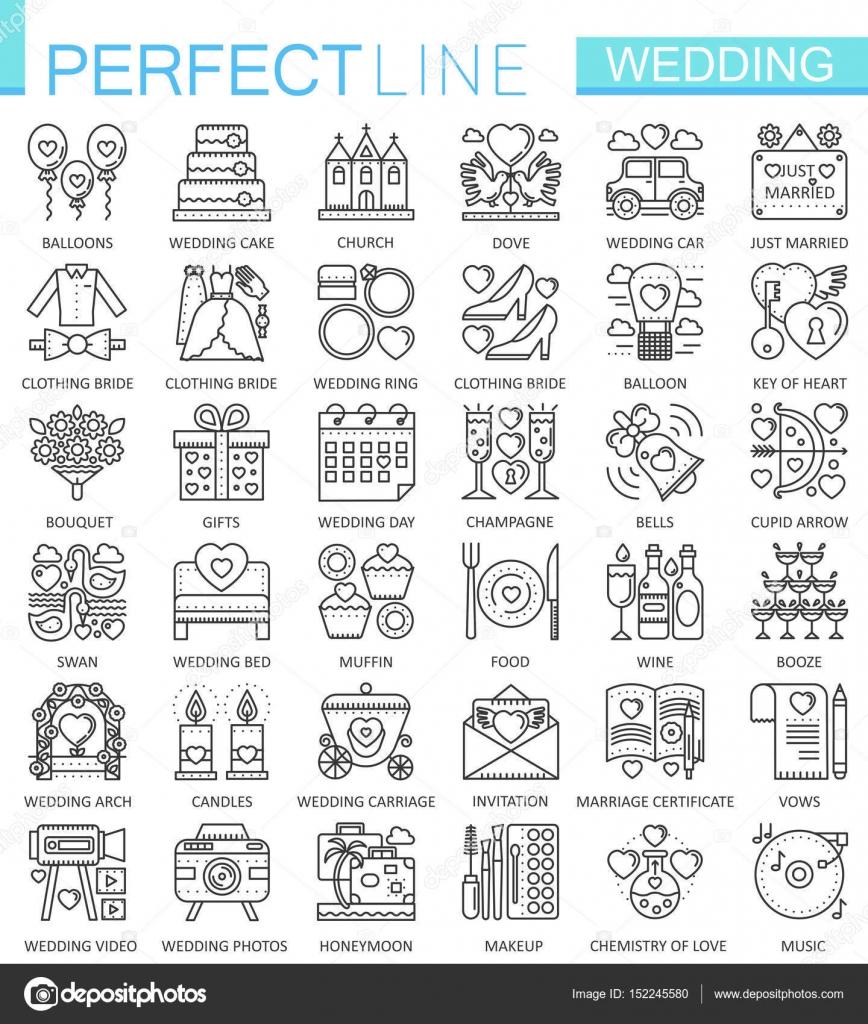 a60d397133 Símbolos de concepto de esquema de boda. Iconos de línea delgada perfecta.  Conjunto de ilustraciones de estilo moderno — Vector de ...