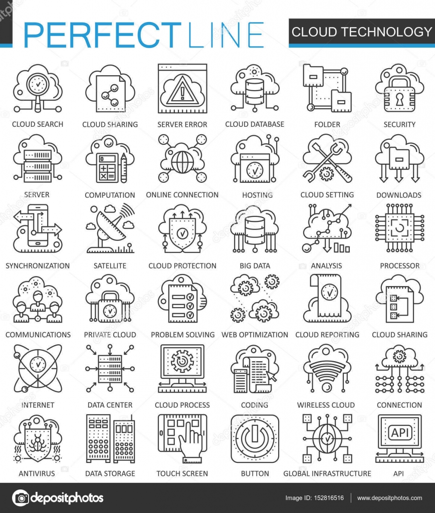 Cloud data technology services outline concept symbols perfect thin cloud data technology services outline concept symbols perfect thin line icons connection modern stroke linear style illustrations set vector by biocorpaavc Gallery