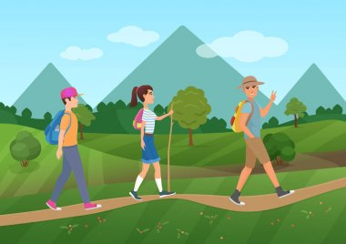Cheerful group of tourists walking on the road near the mountains vector illustration.
