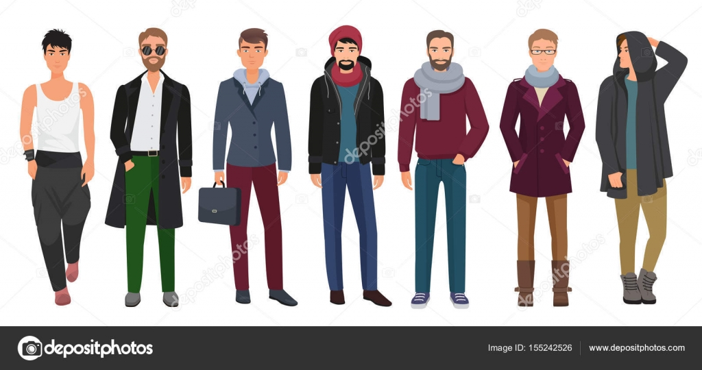 758da5ff7cbedd Knappe en stijlvolle mannen instellen. Jongens mannelijke stripfiguren in  trendy mode kleding. Vectorillustratie —