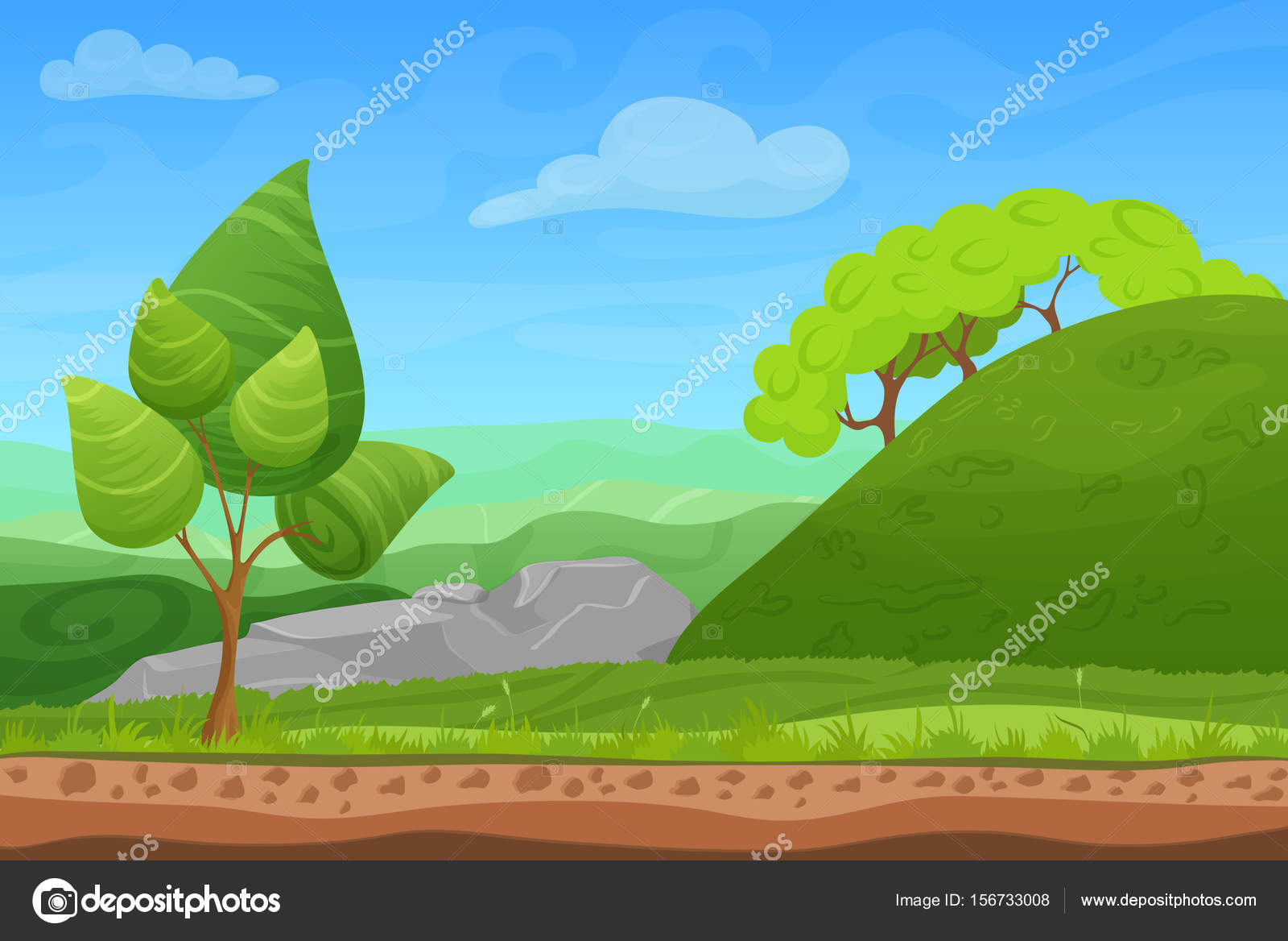 Dibujos De Arboles Coloreados: Dibujos Animados Color Naturaleza Paisaje De Verano De