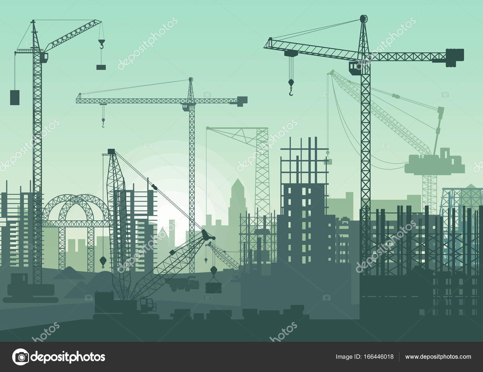 工事現場のタワー クレーン。建設中の建物 \u2014 ストックベクタ