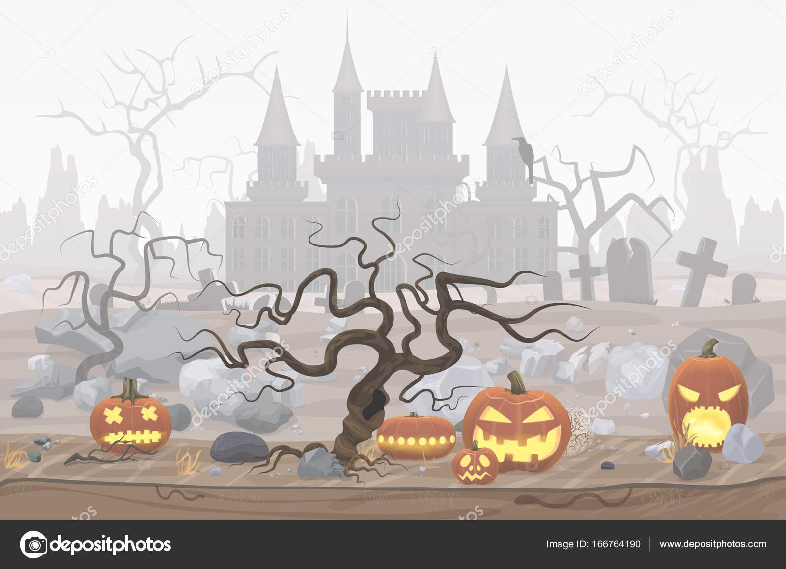 Vektor-Illustration der Kürbis Laternen für Halloween und nebligen ...