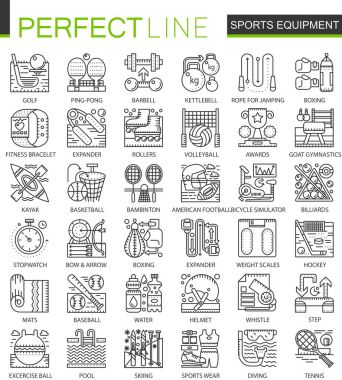 Sport equipment outline mini concept symbols. Modern stroke linear style illustrations set. Perfect thin line icons.