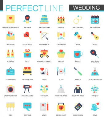 Vector set of flat Wedding icons.