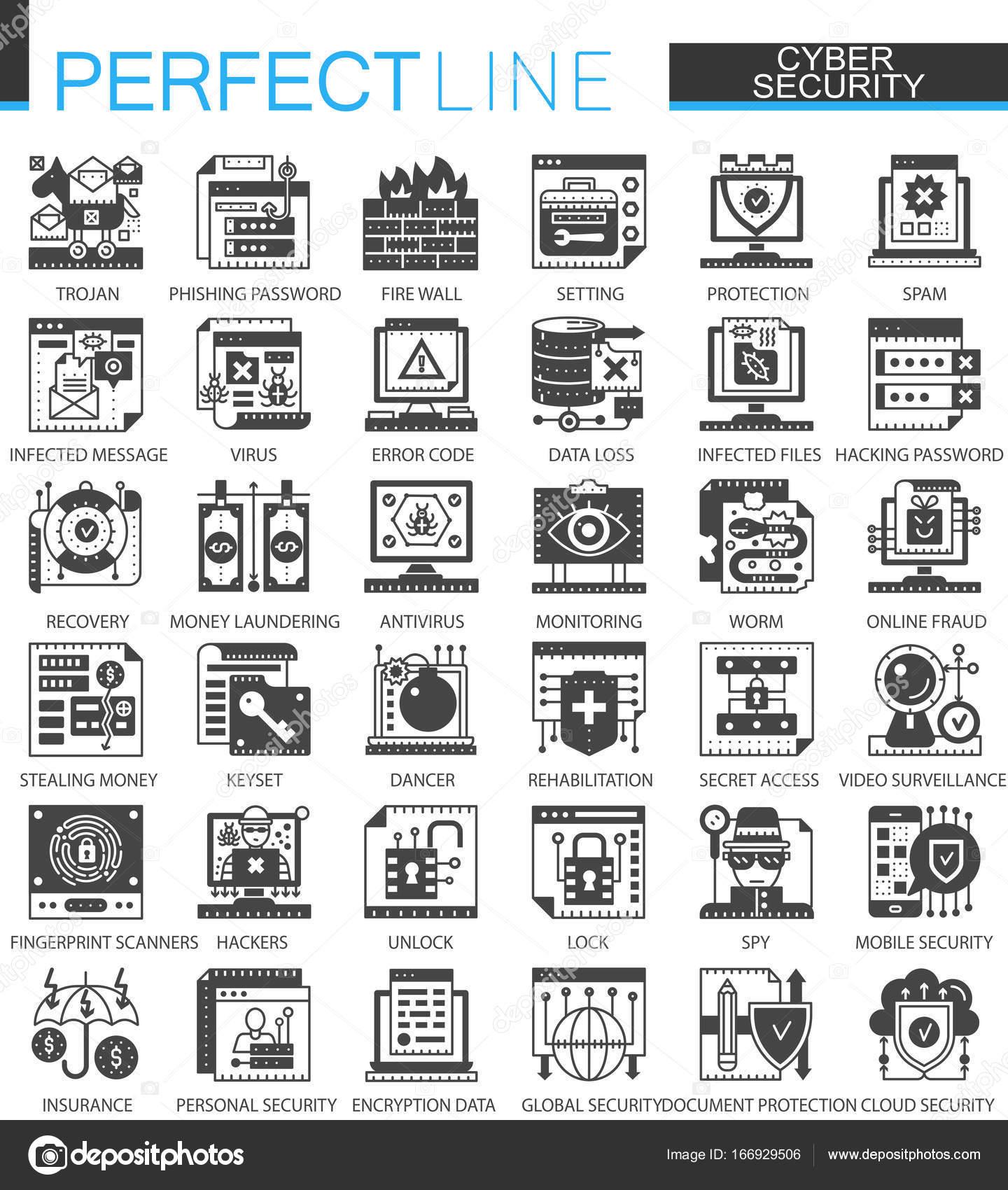 Cyber security classic black mini concept symbols. Network ...