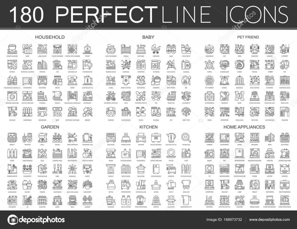 mini garten in der kuche, 180 mini konzept symbole gliederungssymbole von haushalt, baby, Design ideen