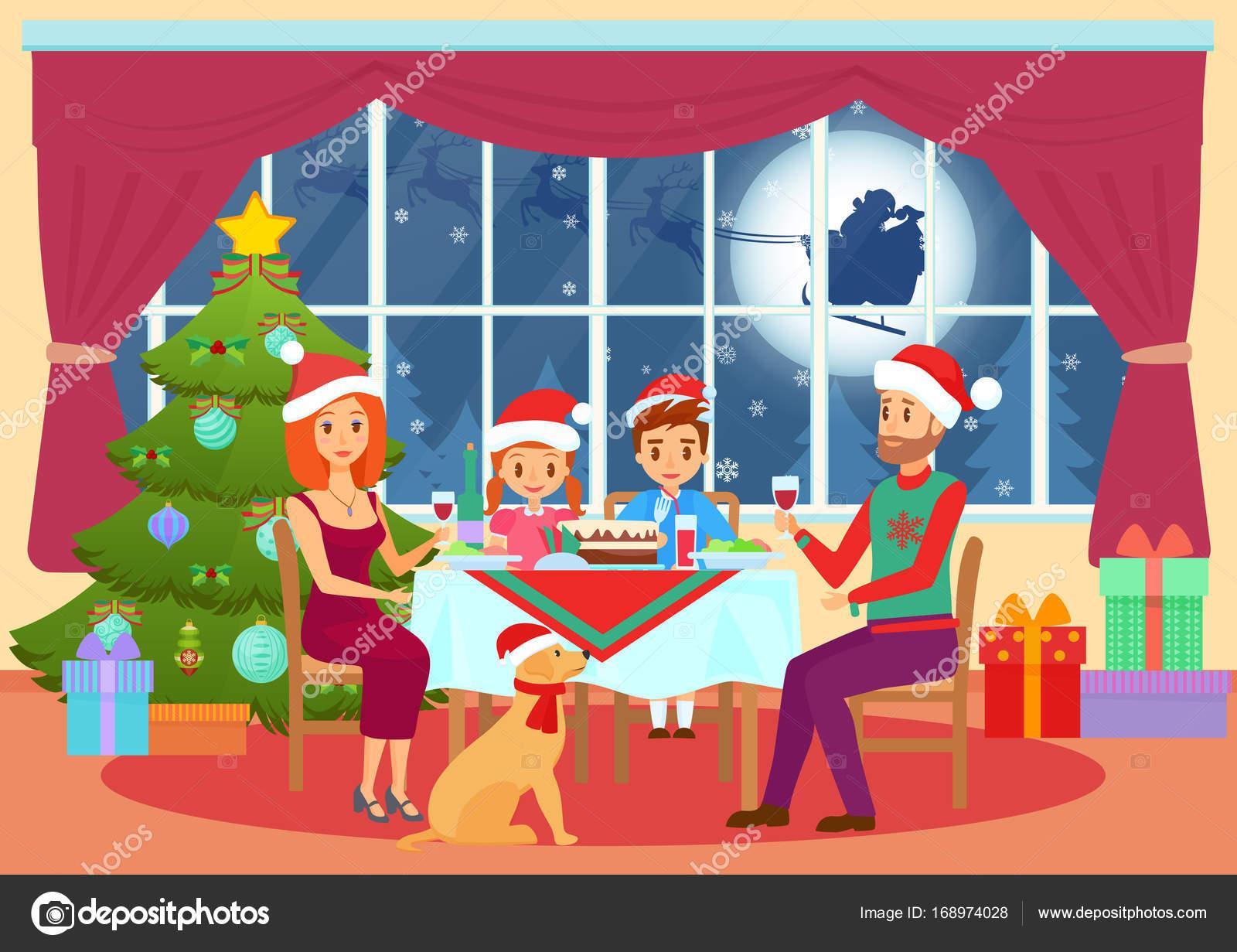Dibujo Cena Nochebuena Ilustración De Vector De Los Niños Los