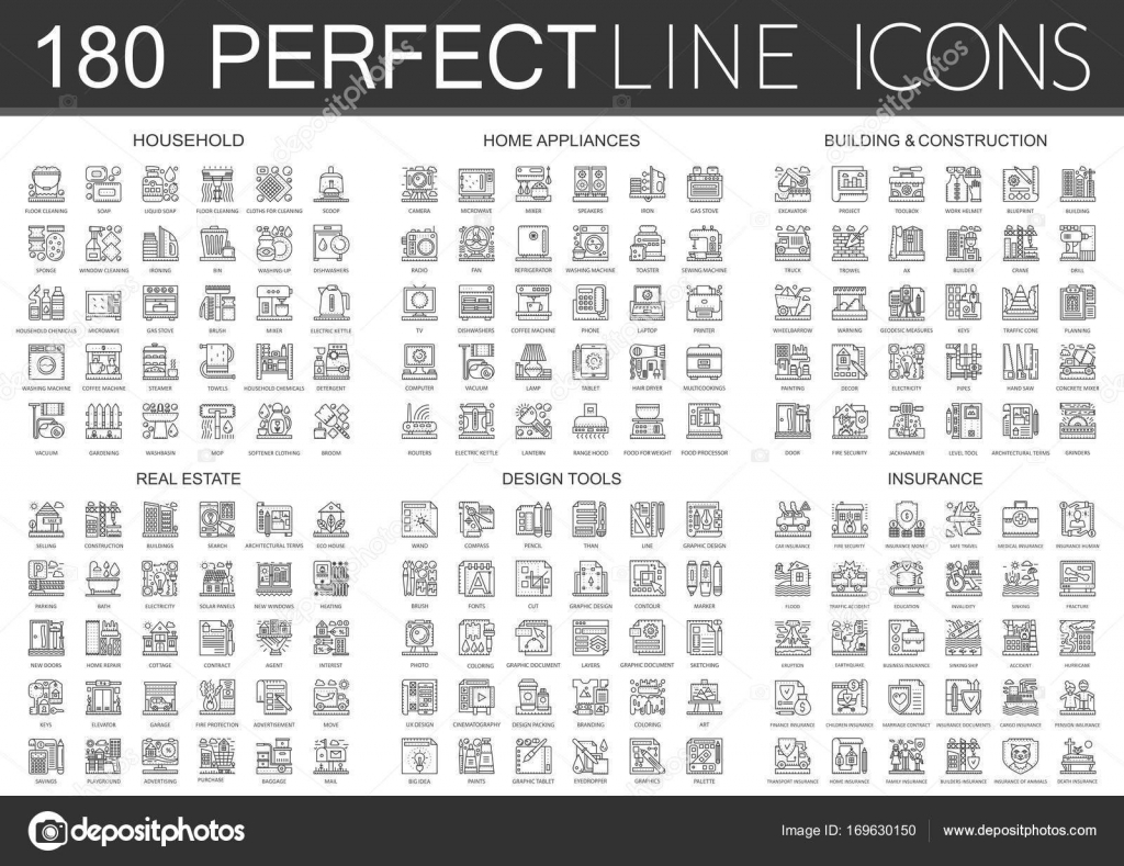 180 Outline Mini Concept Infographic Symbol Icons Of Household Home