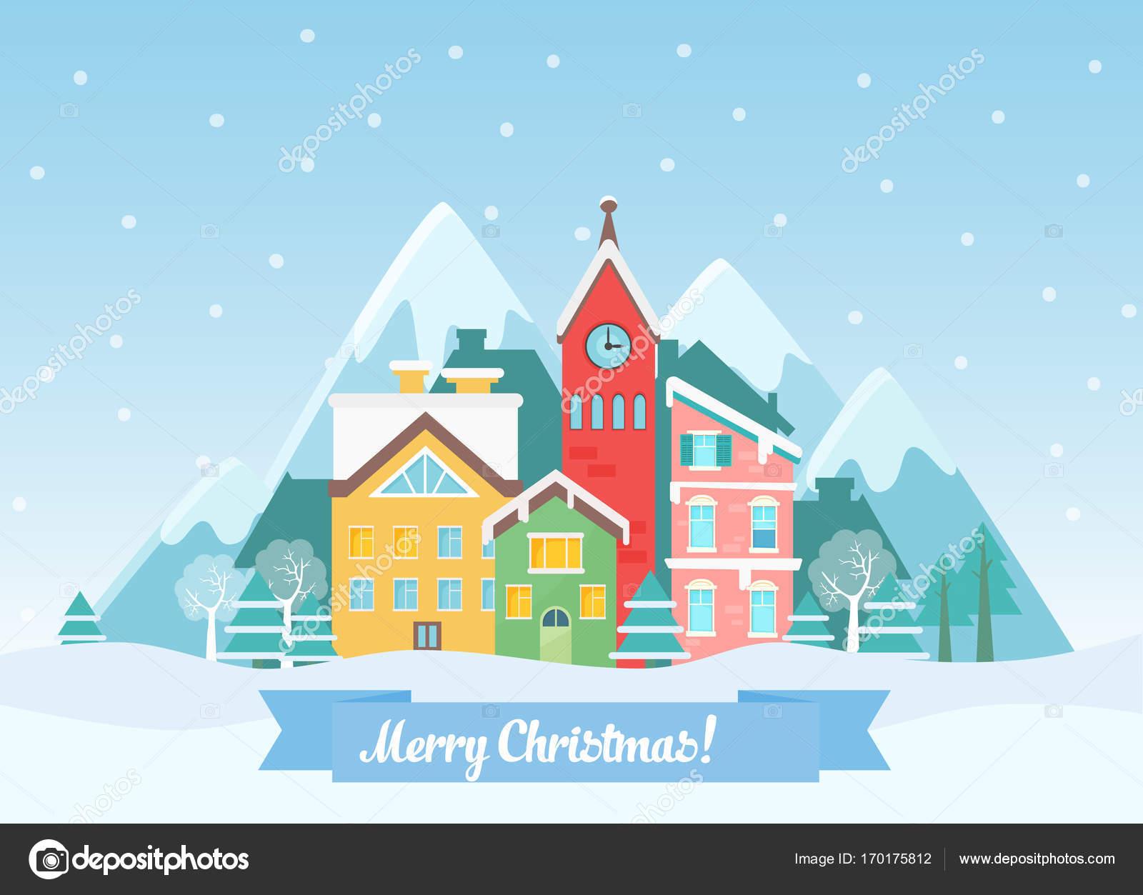 ベクトル フラット冬クリスマス街並み山の近く雪が降るとかわいい家が