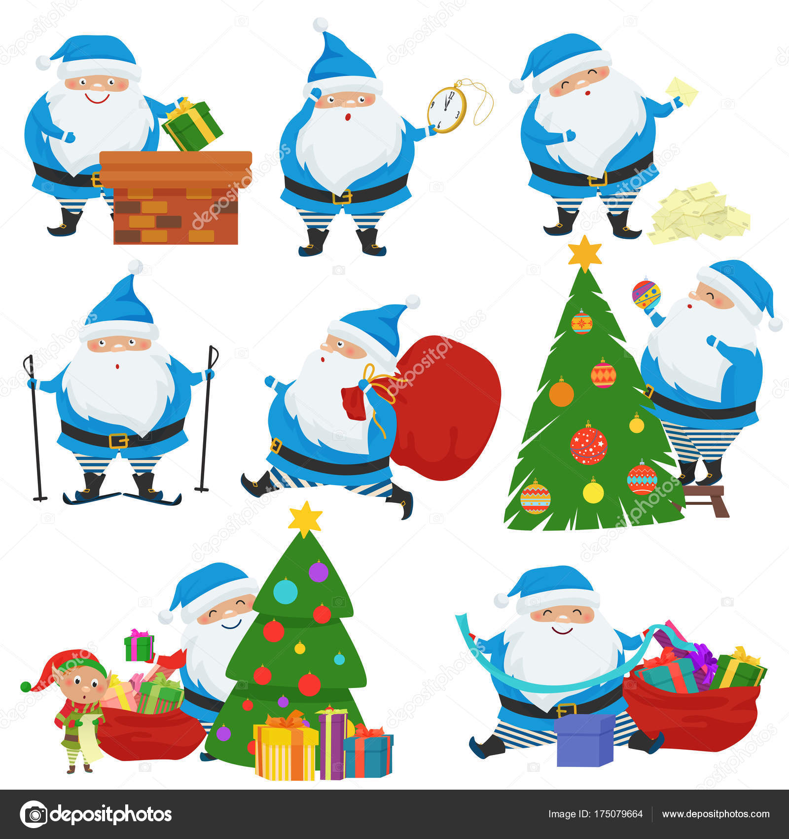 Vecteur Défini De Noël Père Noël En Habit Bleu Jeu De