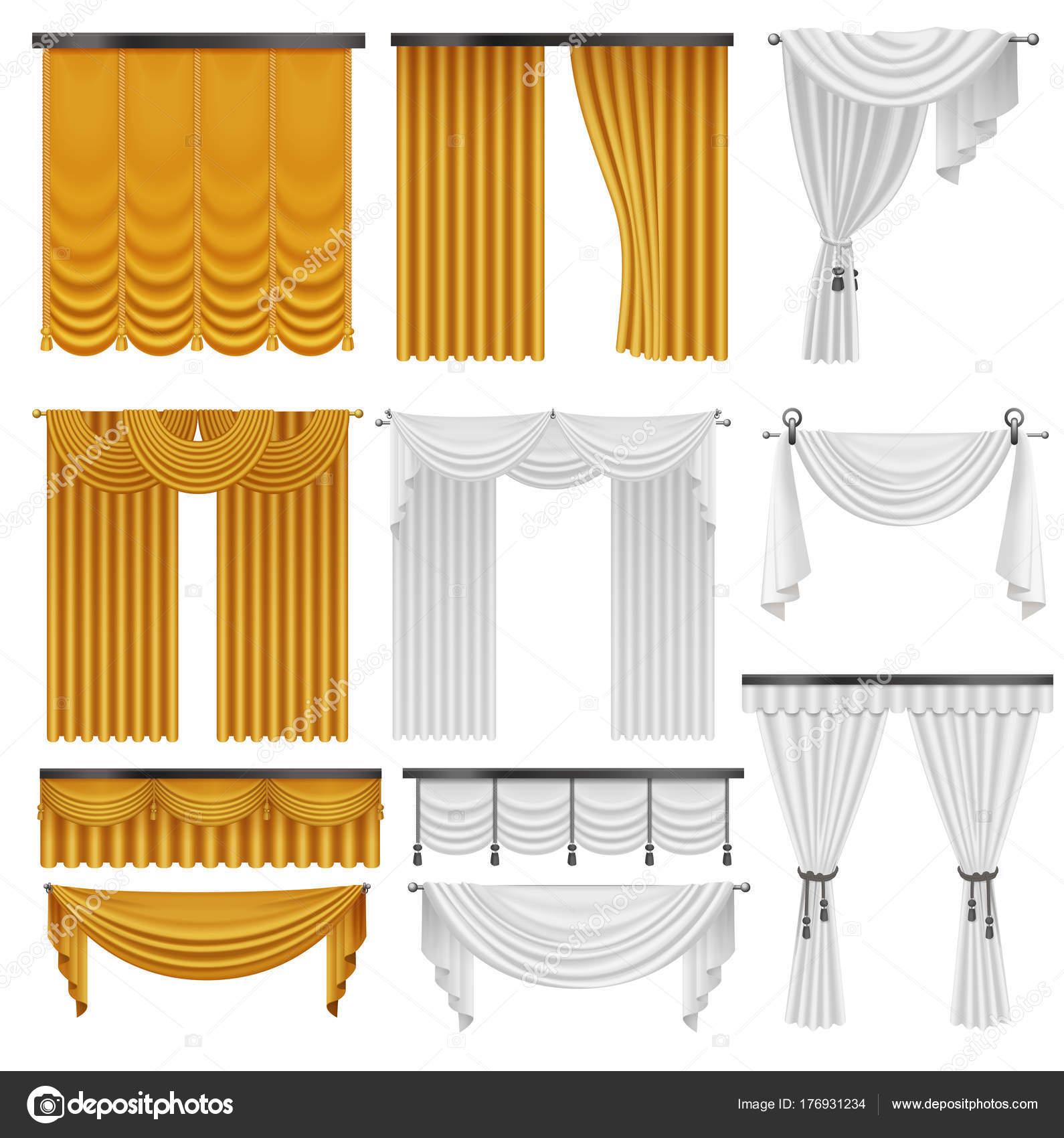 Goldene und weiße Seide Samtvorhänge und Vorhängen eingerichtet ...