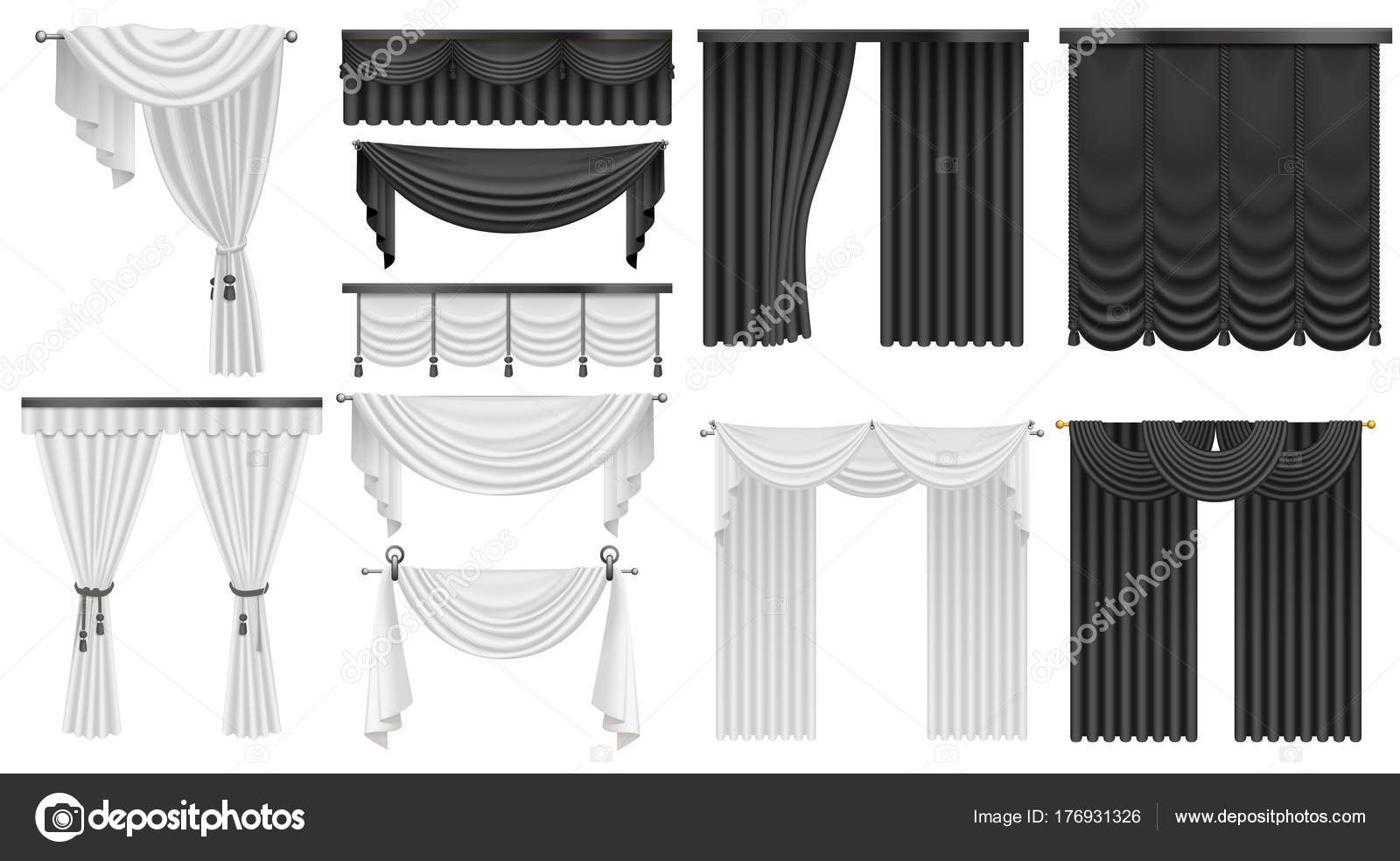 schwarz wei samt seide gardinen und vorh nge festgelegt inneren realistische luxus gardinen. Black Bedroom Furniture Sets. Home Design Ideas