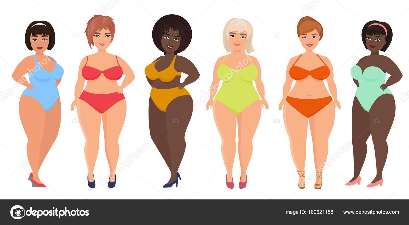 94651781617c Vector de dibujos animados mujeres curvas hermosas tallas grandes en ...
