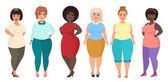 Vektor Cartoon glücklich und lächelnd plus Size-Frauen. kurvige, übergewichtige Mädchen in lässiger Kleidung.