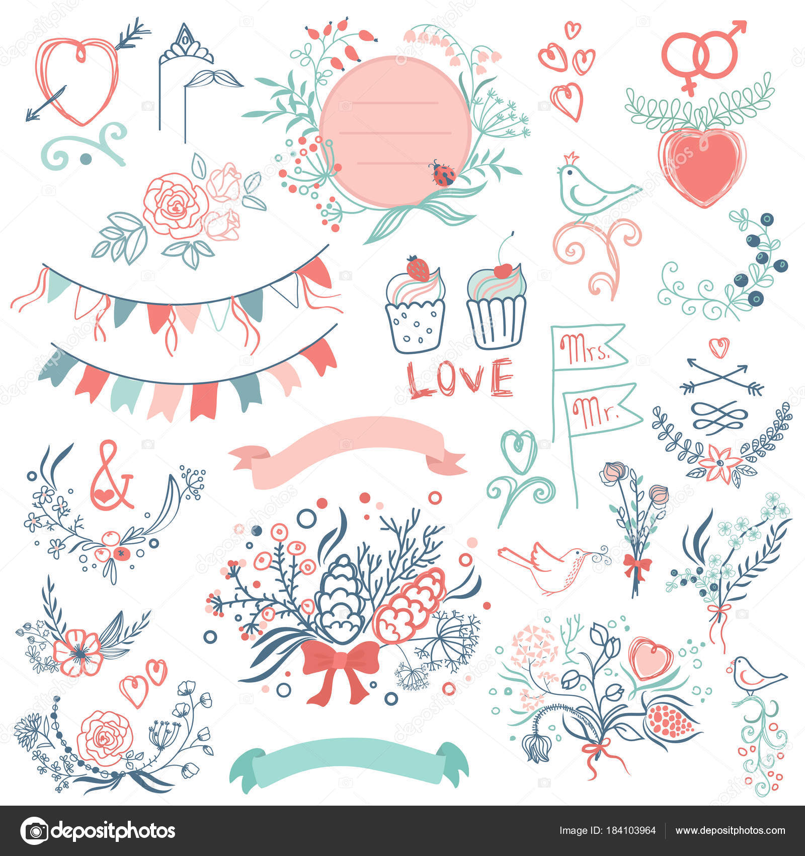 Wedding Modern Vintage Graphic Collection Of Cute Ribbons Wreaths Arrows Hearts Laurel And Labels Vector By Lembergvector