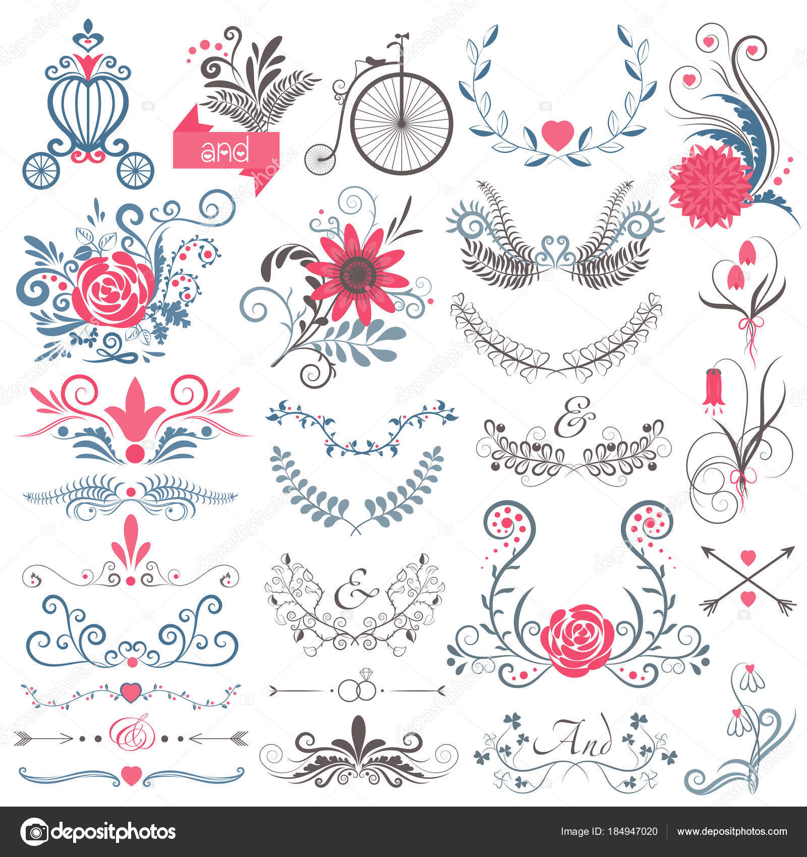 Rustic Hand Sketched Wedding Modern Vintage Graphic Collection Of Cute Floral Flowers Arrows Birds