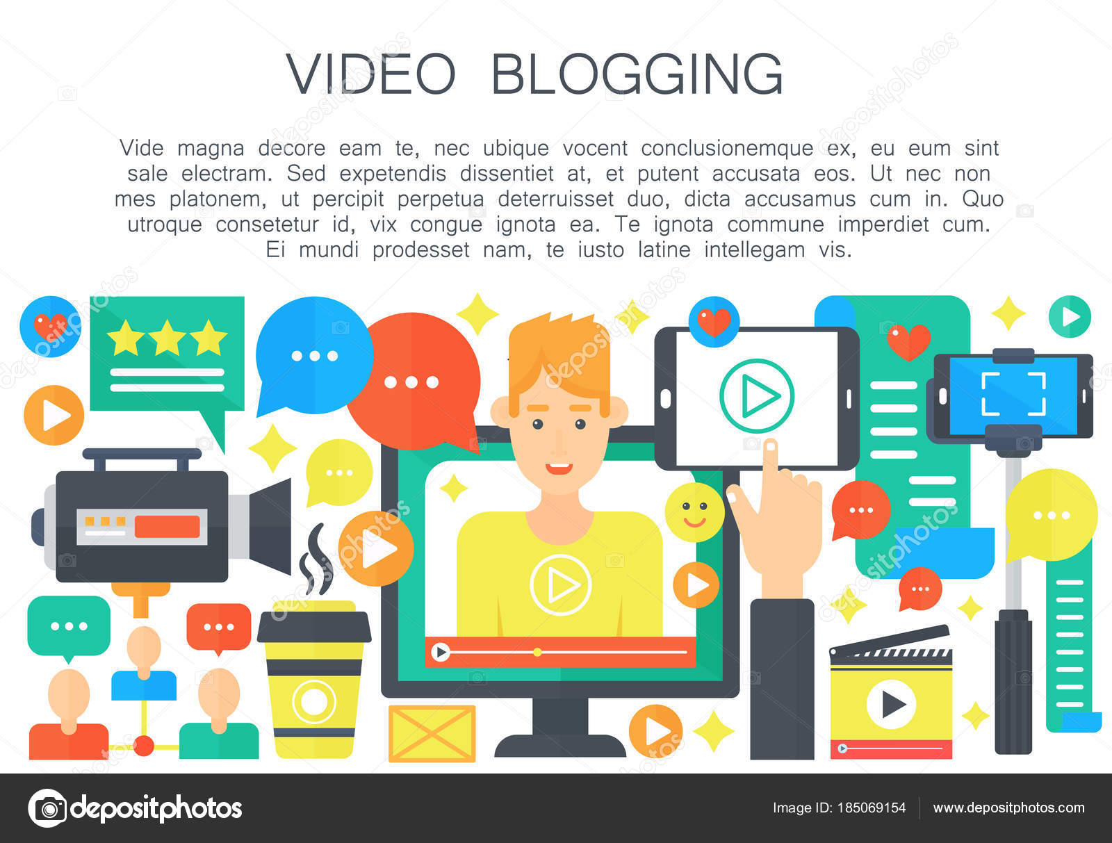 Video Blogger Cartoon flache Konzept. Computer-Bildschirm mit ...