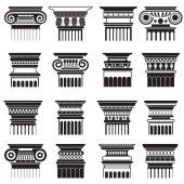 Fotografia Insieme della siluetta di vettore greco antico roma colonna capitelli