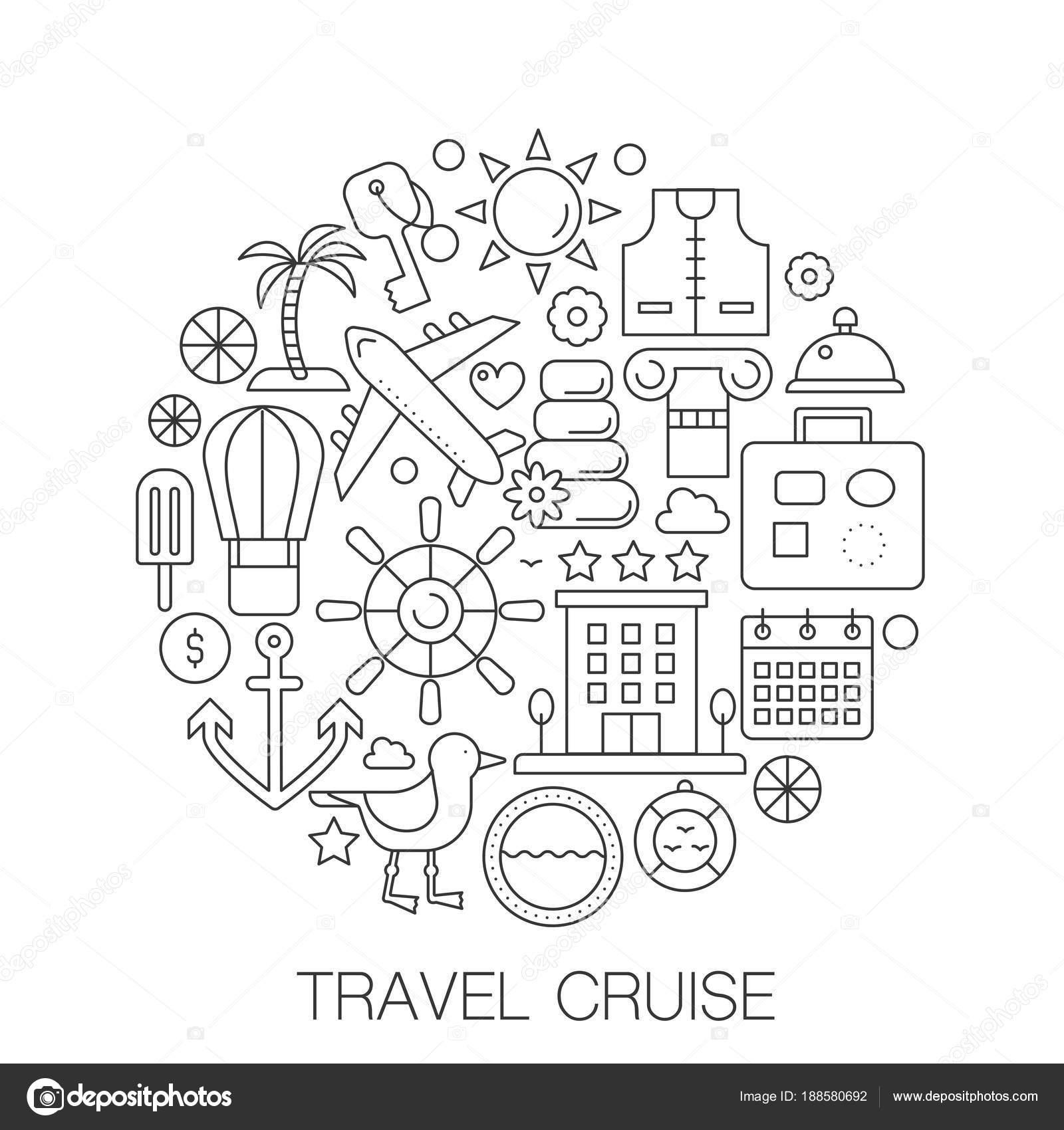 Viajes de cruceros en círculo - ilustración de línea concepto de ...