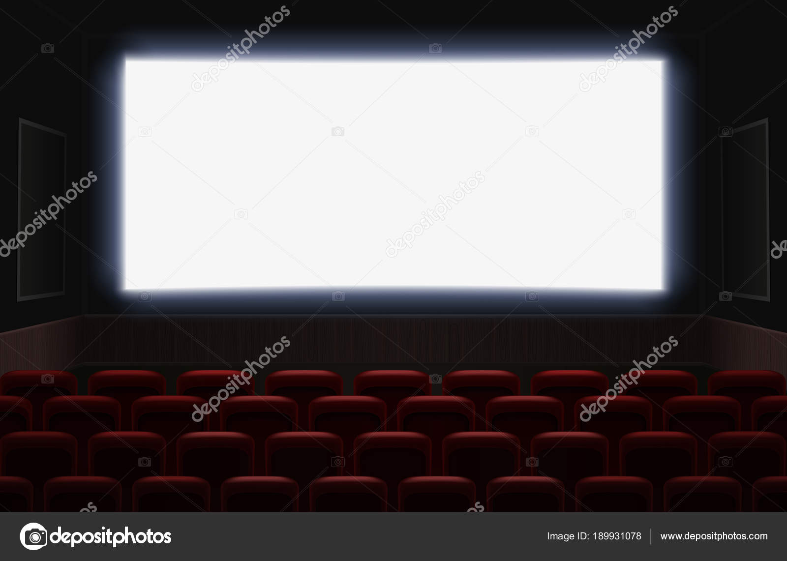 Interior Of A Cinema Movie Theatre With Shiny White Blank Screen Red Cinema Or Theater Seats In Front Of The Screen Empty Cinema Auditorium Background Vector Illustration Stock Vector C Lembergvector 189931078