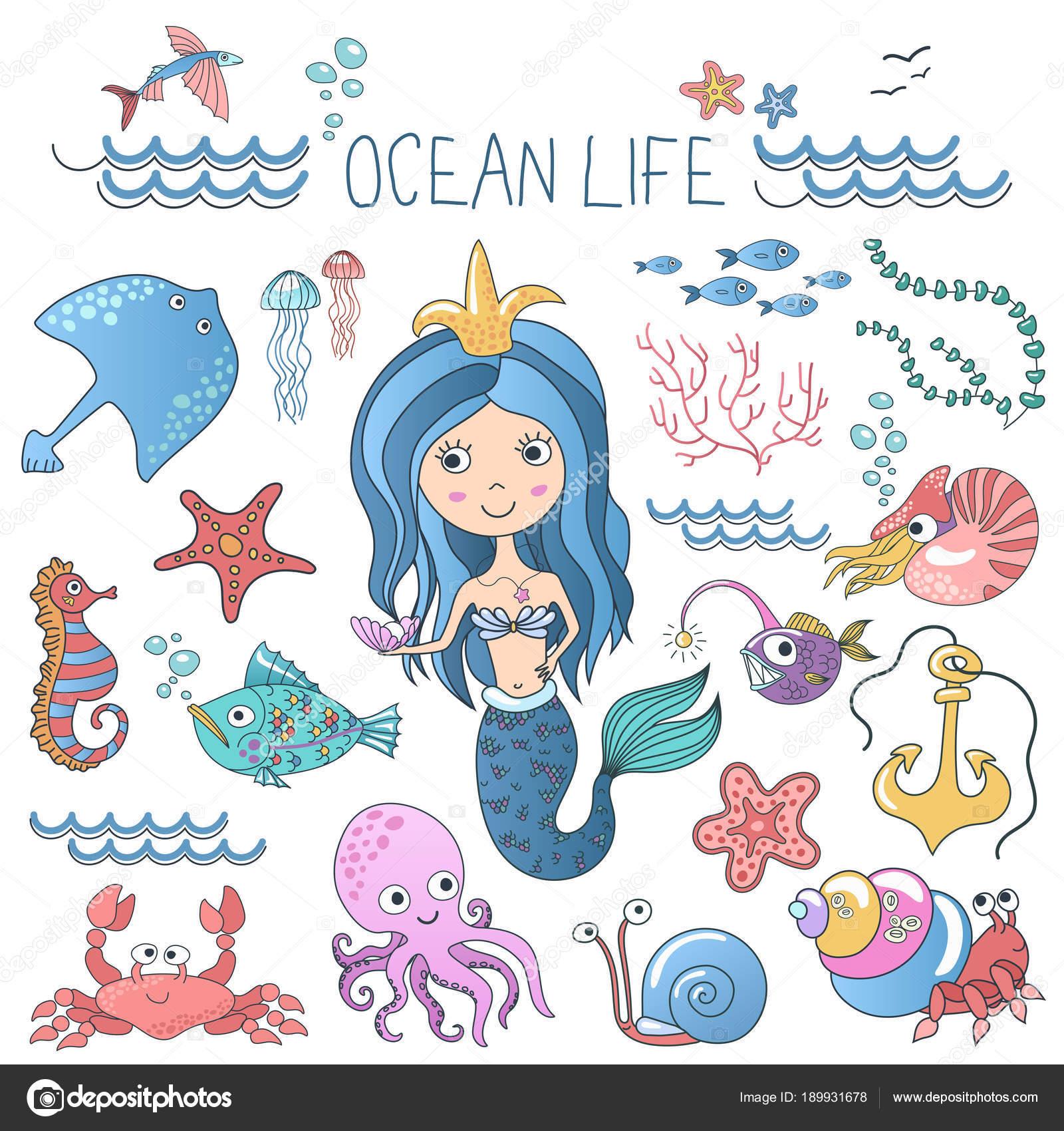 海洋生物のイラスト セット小さなかわいい漫画人魚姫サイレン海海の魚