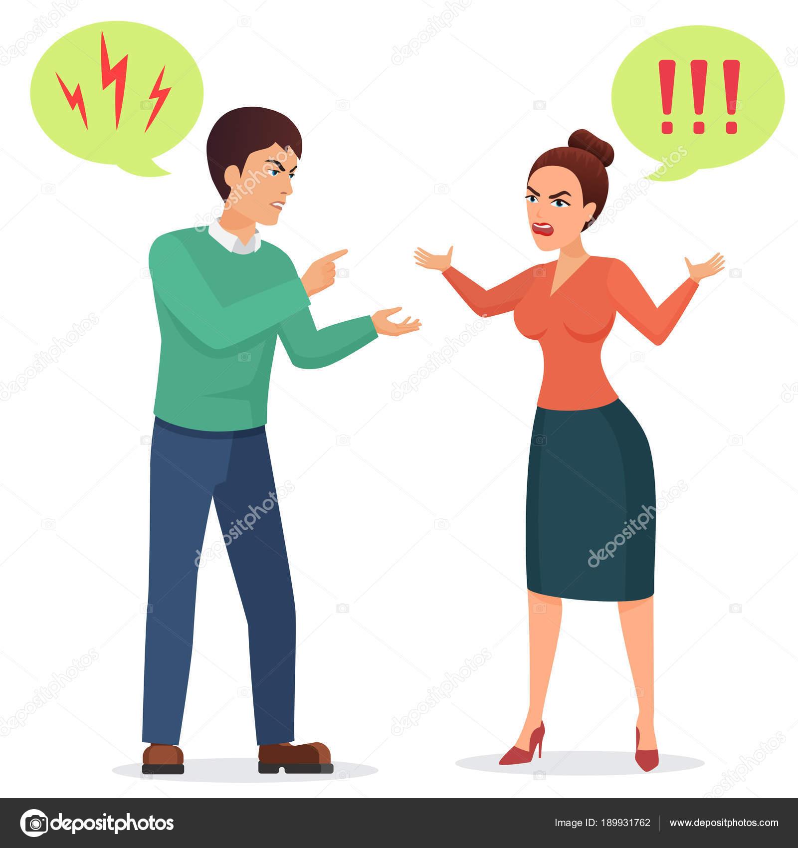 Hombre Y Mujer Discutiendo Dibujo