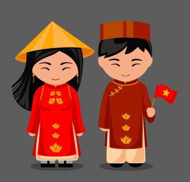Vietnamese in national dress